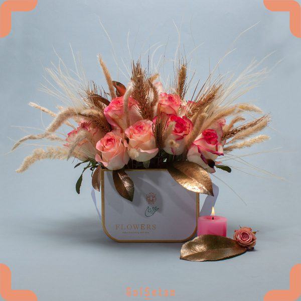 باکس گل گندم (۱۹ شاخه رز هلندی)