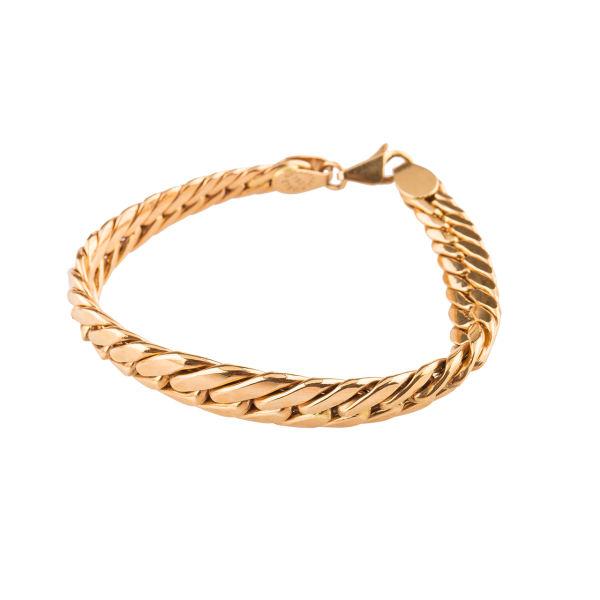 دستبند طلا 18عیار گالری طلاچی مدل زنجیر پهن